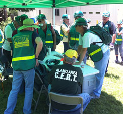 CERT Members gathering around tables