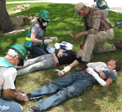 "CERT Drills Being Performed - People Lay on Ground Being ""Treated"""